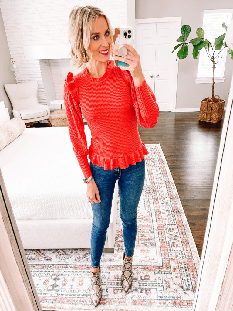 Today I have a huge Walmart try on with nothing over $36 including eight head to toe looks featuring dresses, tops, sweaters, jeans, and shoes. This bright sweater with the fun ruffle detail is adorable with my snakeskin boots!