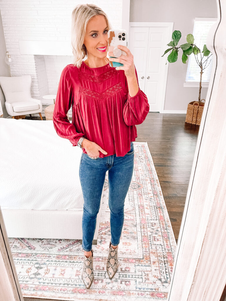 Today I have a huge Walmart try on with nothing over $36 including eight head to toe looks featuring dresses, tops, sweaters, jeans, and shoes. You'll love this burgundy boho style blouse for fall.